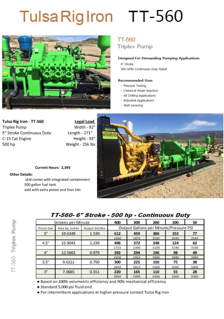 Triplex Pump TT-560 - Drilling Rigs for Sale | Oilfield Equipment